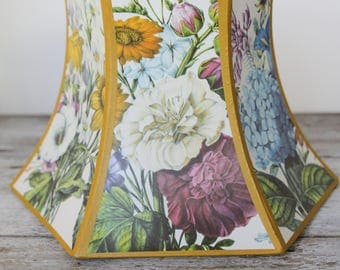 RARE!! Vintage Antique Floral Decal Hexagonal French Paper Lampshade - Flower Lamp Shade