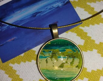 Necklace unique cabochon25mm support