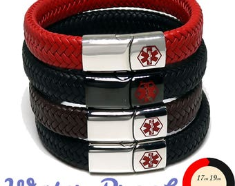 Medical Alert ID SOS Bracelet with Soft Waterproof Leather - Personalised, Any Engraving on Front and Back -  17 19 21 23cm by REDMEDID