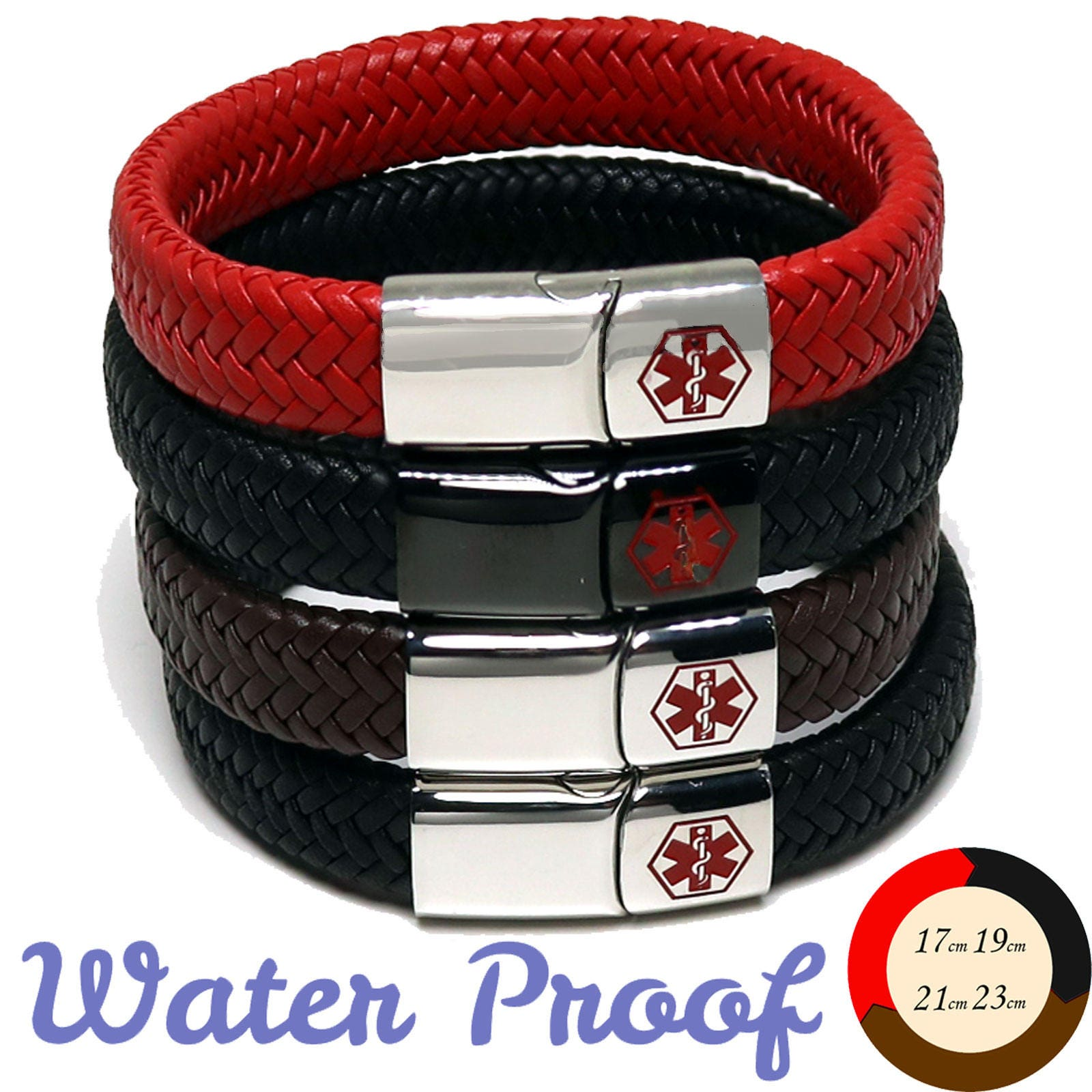 Medical Alert Id Sos Bracelet With Soft Waterproof Leather