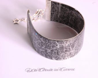 Black and grey gothic style cuff bracelet