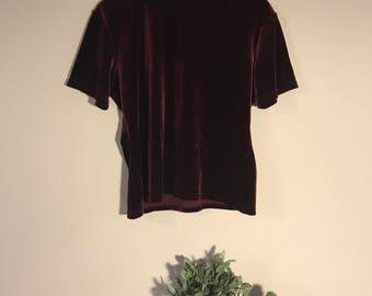 Vintage 90's Maroon Velvet Mock Neck T-Shirt, size Petite X-Large