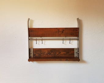 Wall shelf wood and stainless steel