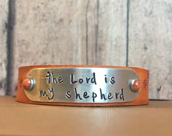 The Lord is my Shepherd Psalm 23 Leather and Aluminum Hand Stamped Scripture Bracelet