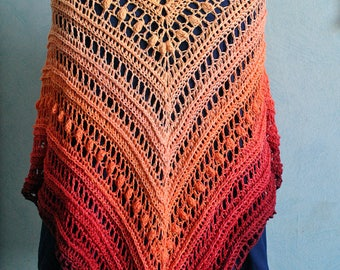 Lightweight shawl sunset in ceremony shawl crocheted lace