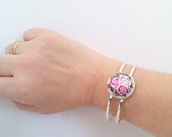double bracelet branch of silver, antique roses.
