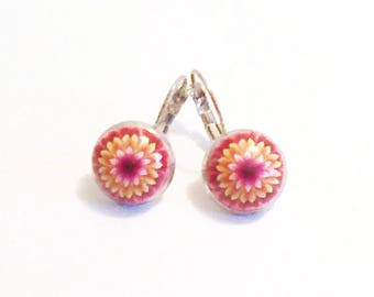 Stud Earrings, multicolor flower.