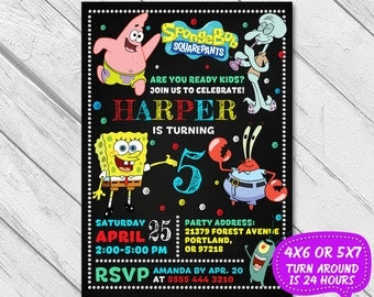 Spongebob Invitation, Spongebob Birthday, Spongebob Party, Spongebob, Spongebob Printable, Spongebob Invite, Spongebob Card