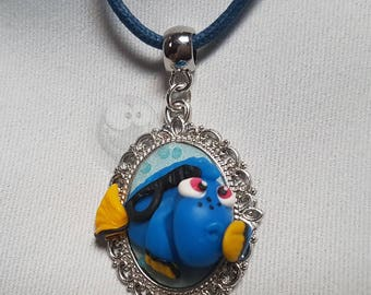 Fish Blue Kawaii polymer clay necklace