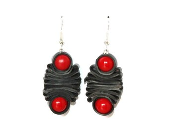 Red recycled tube earrings