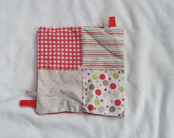 Doudou flat patterns for babies theme red, Brown, green.