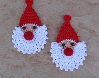 set of 2 Santa Claus red crocheted height 7 cm