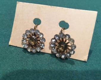 Vintage faux diamond earrings in gold tone backing