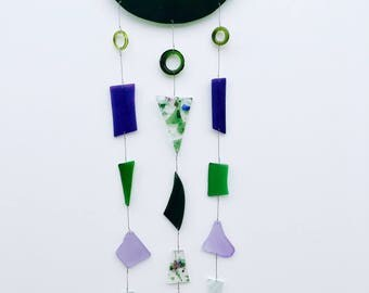 Blue, Green & Purple Boho Style Stained Glass Wind Chime//Glass Mobile//Glass Sun Catcher