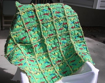 green & yellow flannel baby rag quilt