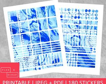 ECLP Stickers, Erin Condren, Printable Planner, Planner Stickers, Vertical Planner, Planner Accessories, Marble, Blue, Stickers, Digital,