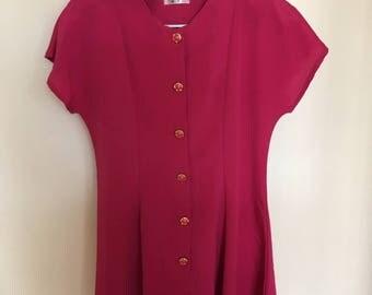 Vintage sixties button down dark pink dress size medium