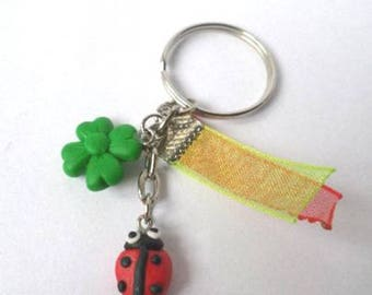 Keychain black and Red Ladybug and clover green Fimo