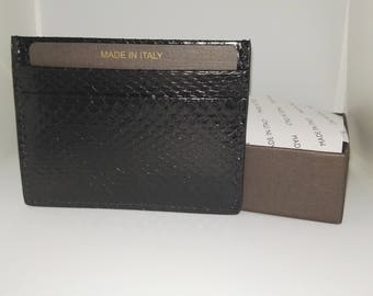 Snake leather card case wallet made in Italy