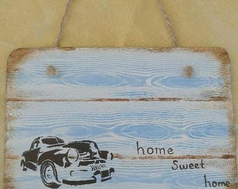 Handmade wooden home sweet home sign vintage theme with vintage rope