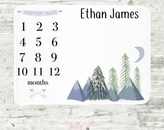 Adventure Awaits Baby Milestone Blanket, Forest Mountains Milestone Blanket, Personalized Baby Blanket, Month Baby Blanket, Baby Boy Blanket