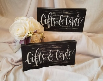 Gifts and Cards Wooden Block. Weddings. Birthdays. Bridal Shower. Baby Shower. Anniversary Party. Card and Gift Table Decor.