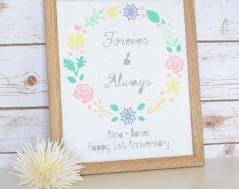 Forever and Always Wedding/Anniversary Papercut