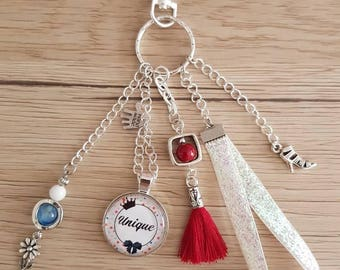 "Door key/jewelry bag ""unique"" trendy red blue white tones"