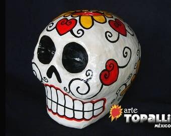 Skull of paper mache, Día de muertos, Mexican skull, Mexican Folk art, Day of the dead Paper mache. Mexican skull. Skull candle for