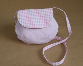 My first girl bag, mini hand bag - pink gingham
