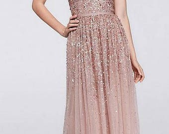 Scattered Sequin Illusion Bodice Tulle Gown