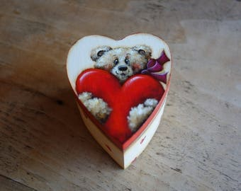 """Heart shaped wooden box """"with all my heart!"""""""
