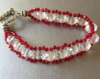 Red Czech Glass and Crystal Bracelet