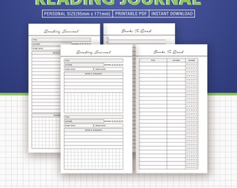 Reading Journal Printable, Books To Read, Reading List, Book Review, Personal Size Inserts, Planner Binder, Instant Download