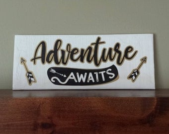 Adventure Awaits Sign Reclaimed Pallet Wood Sign Handmade Wall Decor for the Adventurous Soul Den, Office, Man Cave, She Shed, Kids Room