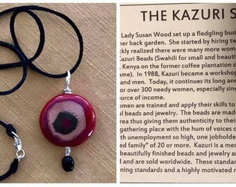 African Kazuri Clay Bead Necklace.