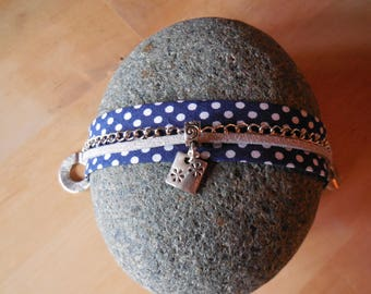 Blue fabric strap with dots, suede, chain and silver charm