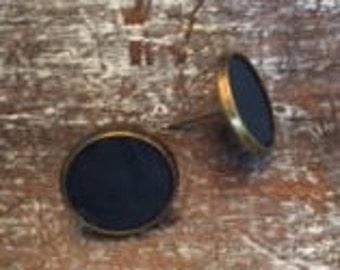 Navy Leather Earrings