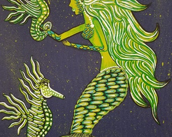 Green Mermaid and seahorses