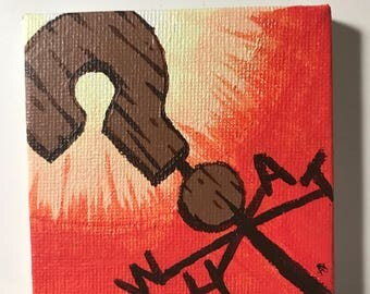 """Geeky Painting - Gravity Falls - 3""""x3"""" - Stretched canvas - What?"""