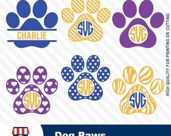 Dog Paws, Dog Paws print,Dog PawsSVG, high quality, SVG file for silhouette cameo,vynil cutter, split monogram, #032-svg
