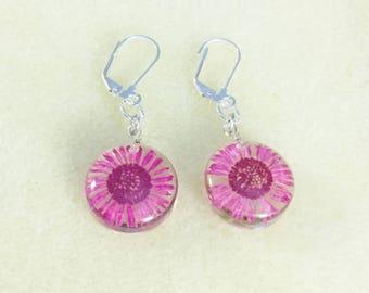 Pink Flower Glass Earrings