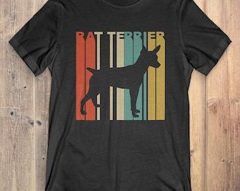 Rat Terrier Dog T-Shirt Gift: Vintage Style Rat Terrier Silhouette