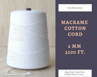 Cotton cord for macrame wall hangers -  2 mm cotton yarn - Macrame cord - DIY cotton rope - Macrame supplies - EraMacrame