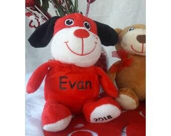 Valentine's Day Gift,Valentine's Day,Personalized Gift,Valentine's Day Kids,Personalized,Stuffed Animal,Stuffed Dog,Plush,Plushie,Plush Toy