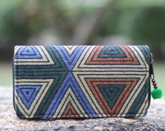 Triangle Geometric Women's Wallet    Long  Wallet     Vegan wallet     Hippie Wallet     wallet    Purse    Fabric Wallet  Zip wallet