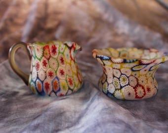 Millefiori Murano Glass Creamer and Sugar