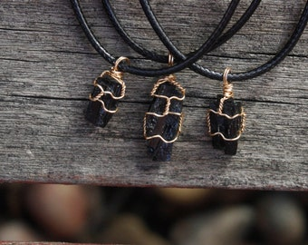 Gold Wire-wrapped Black Tourmaline Pendant