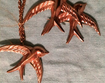 Vintage Copper Bird Pin/Brooch Set