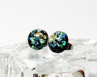 Black with Gold Foil and Opal Sphere Earring - Shimmer - Dark Delights - Formal earrings - Winter Formal and homecoming jewelry - Shiny stud